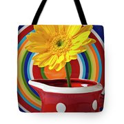 Yellow Daisy In Red Pitcher Tote Bag