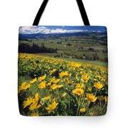 Yellow Flowers Blooming, Hood River Tote Bag