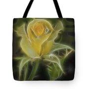Yellow Fractalius Rose Tote Bag