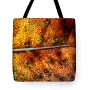 Yellow Leaf With Green Spots And Black Dots Tote Bag