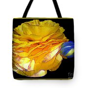 Yellow Ranunculus Flower With Blue Colored Edges Effect Tote Bag