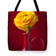 Yellow Ranunculus In Red Pitcher Tote Bag