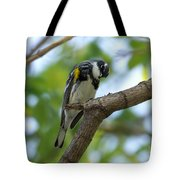 Yellow Rumped Warbler Looking Down Tote Bag