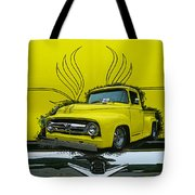 Yellow Truck In Truck Grill Tote Bag