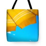 Yellow Umbrella With Sea And Sailboat Tote Bag