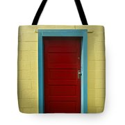 Yellow Wall And Red Door Tote Bag