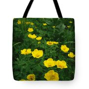 Yellow Wildflowers Blooming In Lush Tote Bag