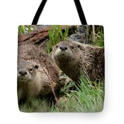 Yellowstone River Otters Tote Bag