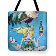 Yoga Girl With Cock - Bottle Of Wine And Egg Tote Bag