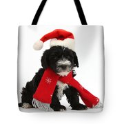 Yorkipoo Pup Wearing Christmas Hat Tote Bag