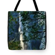 Yosemite Falls Through Trees Tote Bag
