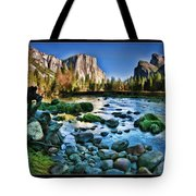 Yosemite Rocks In River Tote Bag