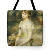 Young Girl With A Basket Of Flowers Tote Bag
