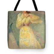Young Girl With A Peacock Tote Bag