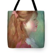 Young Girl With Long Hair In Profile Tote Bag