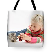 Young Girl With Silver Tabby Kitten Tote Bag