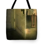 Young Lady By Open Door Tote Bag