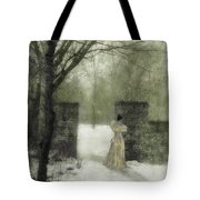 Young Lady By Stone Pillar In Snow Tote Bag