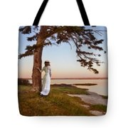 Young Lady In Edwardian Clothing By The Sea Tote Bag