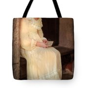 Young Lady In Yellow Gown With Letters Tote Bag