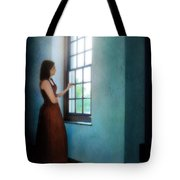 Young Lady Looking Out Window Tote Bag
