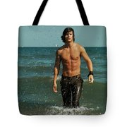 Young Man Walking Out Of The Water Tote Bag