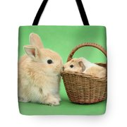 Young Rabbit With Baby Guinea Pig Tote Bag