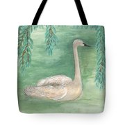 Young Swan Under Willow Tree Tote Bag