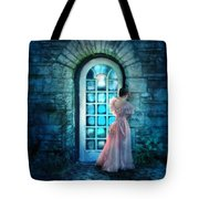 Young Woman Alone In Pink Gown  Tote Bag