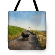 Young Woman And Baby Buggy On Dirt Road  Tote Bag