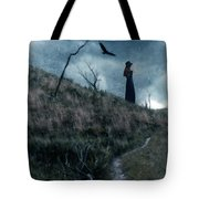 Young Woman On Creepy Path With Black Birds Overhead Tote Bag