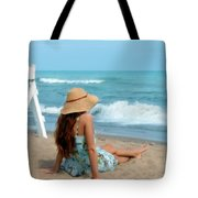 Young Woman Sitting On A Beach Tote Bag