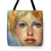 Young Woman Watercolor Portrait Painting Tote Bag