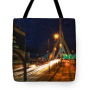 Zakim Bridge At Night Tote Bag by Joann Vitali