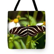 Zebra Longwing And Flowers Tote Bag