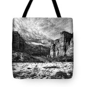 Zion Canyon - Bw Tote Bag