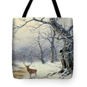 A Stag In A Wooded Landscape  Tote Bag