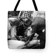 Ambulance Personnel Placing Girl Gurney April Tote Bag
