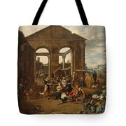 An Italianate Market Scene Tote Bag