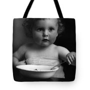 Baby Eating Cereal 1910s Black White Archive Boy Tote Bag