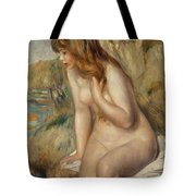 Bather Seated On A Rock Tote Bag