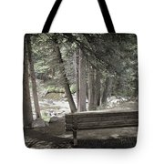 Bench By The Stream Tote Bag