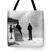 Boys Frozen Lake Parachute Sailboard Circa 1960 Tote Bag