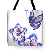 Butterfly Amongst The Flowers Tote Bag