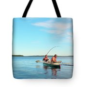 Canoe Fishing  On Blue Lake Tote Bag