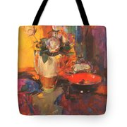 Clarice Cliff Rose Table  Tote Bag