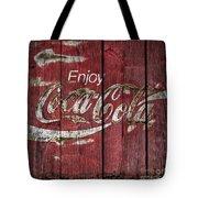 Coca Cola Sign Barn Wood Tote Bag