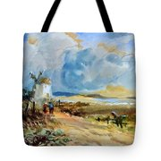 Figures Approaching A Windmill Tote Bag