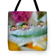 Friendly Company Of Rain Droplets On A Flower Cereal Tote Bag