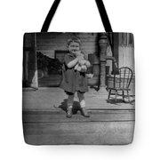 Girl Hugging Stuffed Animal Porch 1920s Black Tote Bag